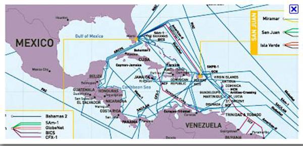 Pese a estar rodeada de cables submarinos, Cuba no puede acceder a ellos debido al bloqueo de Estados Unidos contra la Isla.