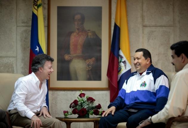 Reunión de los presidente Hugo Chávez y Juan Manuel Santos