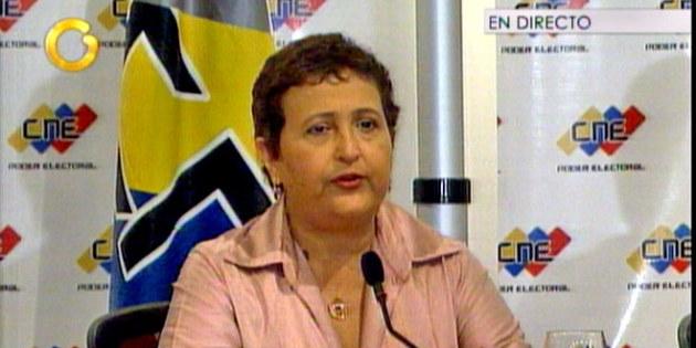 presidenta del Consejo Nacional Electoral (CNE), Tibisay Lucena