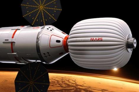 Recreación artística de la futura nave que viajará a Marte. | Inspiration Mars