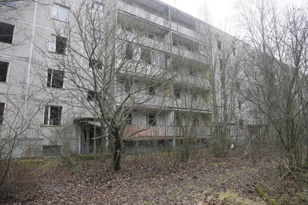 A view of empty houses in the town of Pripyat near the closed Chernobyl nuclear power plant Ukraine. (AP Photo/Efrem Lukatsky)