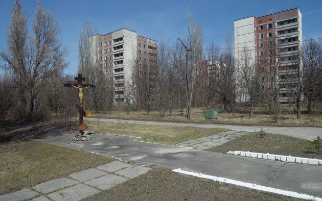 Un crucifijo en el área desierta del poblado ucraniano Pripyat. REUTERS/Gleb Garanich