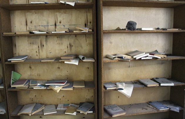 In this photo taken April 2, 2006, book shelves are seen in the deserted town of Pripyat, some 3 kilometers (1.86 miles) from the Chernobyl nuclear power plant.
