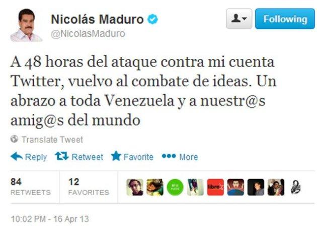 Nicolás Maduro recupera su Twitter tras 48 horas