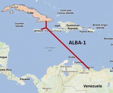 Imagen de la conexión entre Cuba, Venezuela y Jamaica del cable de fibra óptica ALBA 1. Tomada del blog de Renesys.