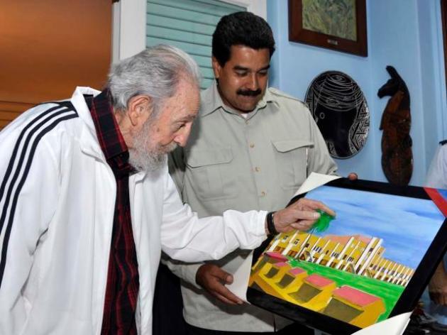 Pte Maduro se reunió con Fidel. Le obsequió cuadro pintado por el Com.Chávez durante su primer tratamiento en Cuba