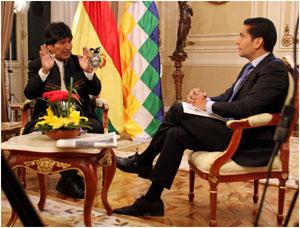 Evo Morales con Ismael Cala.