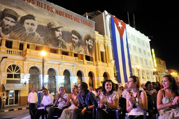 Raúl Castro interviene en el Acto Central por el 55 Aniversario de la Revolución Cubana en el Parque Céspedes, de Santiago de Cuba, el 1 de enero de 2014 FOTO: Roberto Suárez