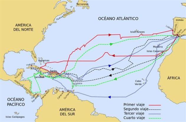 Mapa de los viajes de Cristóbal Colón  / creative commons