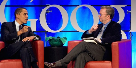 Eric Schmidt junto a Barack Obama. Foto: Progreso Semanal