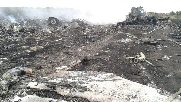 Los restos del avión malasio accidentado en el este de Ucrania