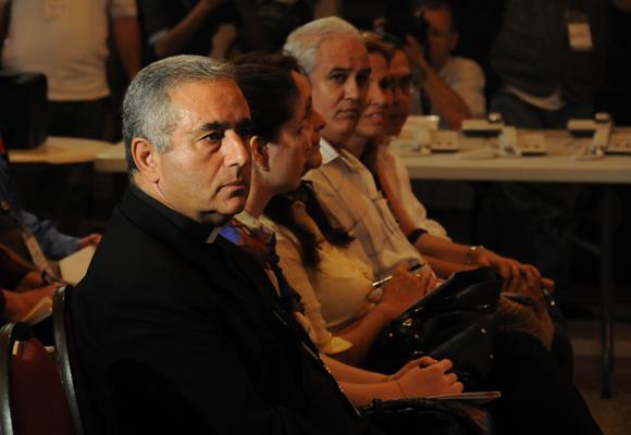 Arzobispo Bruno Musaró, Nuncio Apostólico de Cuba, en la inauguración de la Sala de Prensa para la visita del Papa em La Habana.