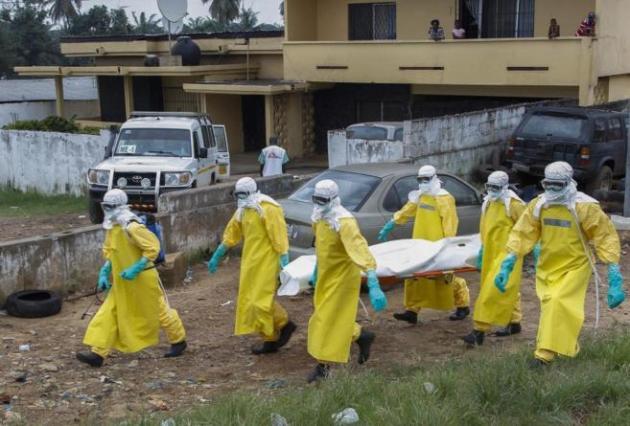Varios especialistas de la salud transportan el cuerpo sin vida de una víctima del ébola en Paynesville, a las afueras de Monrovia en Liberia. EFE