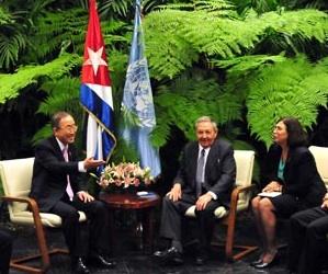 Raúl y Ban Ki-moon en La Habana durante la presencia del Secretario General de la ONU en la Cumbre de CELAC. Enero de 2014. Foto: Ricardo López Hevia/Granma