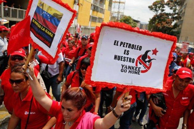 Una manifestación contra el imperialismo norteaméricano en Venezuela. (Carlos Garcia Rawlins/Reuters)